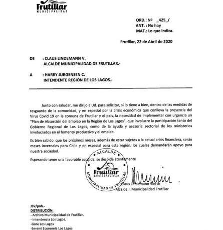 """ALCALDE LINDEMANN SOLICITA """"PLAN DE ABSORCIÓN DEL EMPLEO EN LA REGIÓN DE LOS LAGOS"""""""